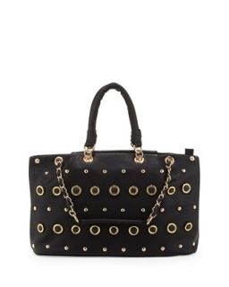 Rebecca Small Gold Studded Tote Bag, Black   V Couture by Kooba