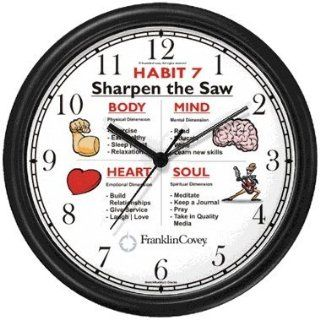 Habit 7   Sharpen the Saw (English Text)   Wall Clock from THE 7 HABITS   CLOCK COLLECTION by WatchBuddy Timepieces (Slate Blue Frame)