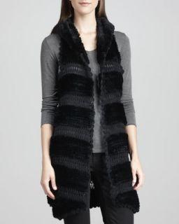 Womens Rex Rabbit Fur & Knit Vest, Black   La Fiorentina   Black