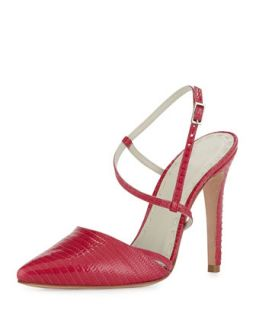 Davey Lizard Embossed Pump, Hot Pink   Alice + Olivia   Hot pink (40.0B/10.0B)
