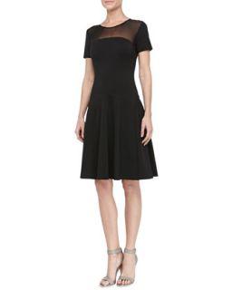 Womens Mesh Top Flared Dress, Black   Halston Heritage   Black (10)