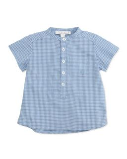 Check Collarless Poplin Shirt, Blue, 6 24 Months   Marie Chantal   Blue (6M)