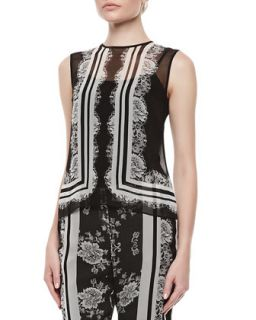 Womens Naomi Lace Chiffon Top with Cami   Erdem   Black/White (12UK/8US)