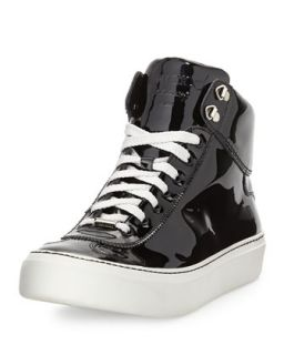 Argyle Mens Patent Leather High Top Sneaker   Jimmy Choo   Black (43/10D)