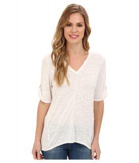 Calvin Klein S/S V Neck Sweater w/ Hardware Womens Short Sleeve Pullover (White)
