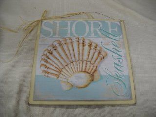 Aqua and Cream Shore Scallop Seashell Wooden Beach House Wall Art Sign   Decorative Plaques