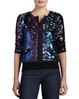 Womens Allover Sequined Jacket, Petite   Michael Simon   Blue.purple mlt (PS