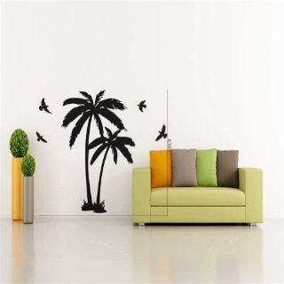 "23.6"" X 47.2"" Large Palm Coconut Tree Branch Wall Decal Sticker with Seagull Birds Baby Nursery DIY Vinyl Lettering Saying Mural Wall Art Decor Room Home, Black  Glass Film Protection  Baby"
