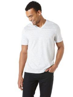 Perry Ellis Mens Stripe V Neck Shirt