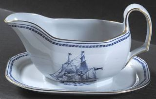 Spode Trade Winds Blue Gravy Boat with Attached Underplate, Fine China Dinnerwar