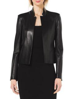 Womens Stand Collar Leather Jacket   Michael Kors   Black (4)