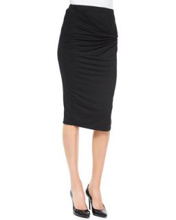 Womens Twist Front Jersey Skirt   Three Dots   Black (X SMALL)