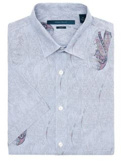 Perry Ellis Mens Slim Fit Short Sleeve Paisley Shirt