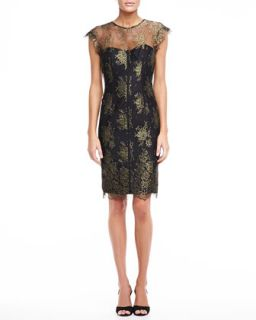 Womens Lace Sheath Dress, Gold and Black   ML Monique Lhuillier   Black/Gold