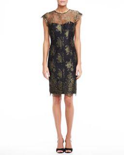 Womens Lace Sheath Dress, Gold and Black   ML Monique Lhuillier   Black/Gold