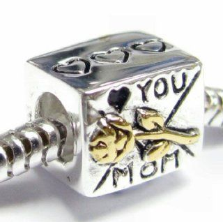 Gold on Sterling Silver Love You Mom Mother Heart Rose Flower Letter Bead for European Charm 3mm Snake Chain Bracelets: Jewelry