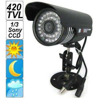 "SecurityIng   Black Housing 420 TVL 1/3"" Sony CCD Colorful Night Vision Indoor / Outdoor Bullet CCTV Security Camera, 36PCS IR LEDs Support 90 Feet View Distance, IP66 Waterproof Level : Camera & Photo"