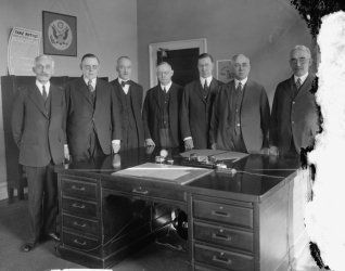 early 1900s photo Federal Reserve Board, left to right: Sec'y Mellon; W.P.G. f2