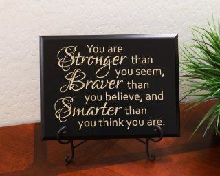 "Timber Creek Design Decorative Carved Wood Sign with Quote ""You are Stronger than you seem, Braver than you believe, and Smarter than you think you are."" by Christopher Robin 3D Carved 12""x9"" Black   Window Treatment Horizontal Blinds"