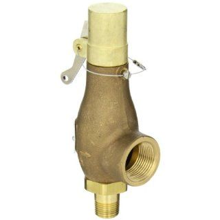 "Kingston 710D46S1L 150 Safety Valve, D Orifice, Brass Body & Trim, 1/2"" Inlet x 1"" Outlet, Silicone Disc, Open Lever, ASME Sec. VIII Steam, 15 250 psi Pressure Range, 150 psi Set Pressure Industrial Relief Valves Industrial & Scientific"