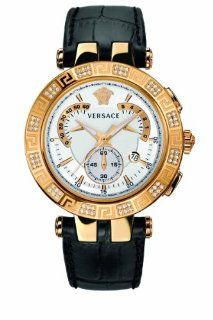 Versace Men's 23C82D002 S009 V RACE CHRONO Analog Display Swiss Quartz Black Watch: Watches