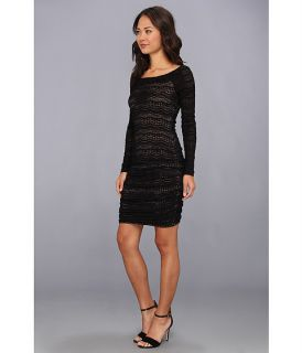 BCBGMAXAZRIA Halle Lace Shirred Dress Black