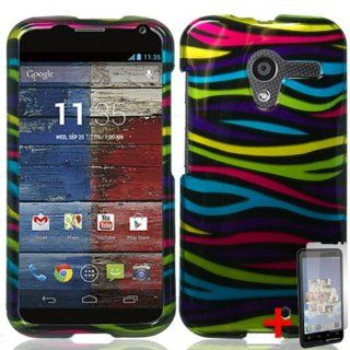 MOTOROLA MOTO X PHONE RAINBOW ZEBRA ANIMAL STRIPES COVER SNAP ON HARD CASE +FREE SCREEN PROTECTOR from [ACCESSORY ARENA]: Cell Phones & Accessories