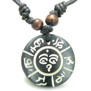 Amulet Tibetan Mantra Om Mani Padme Hum and Buddha All Seeing Eye Magic Symbols Natural Bone Magic Pendant Necklace: Best Amulets: Jewelry