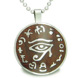 "All Seeing and Feeling Eye of Horus Egyptian Cherry Wood Amulet Magic Powers Circle Pure Stainless Steel on 22"" Pendant Necklace Best Amulets Jewelry"