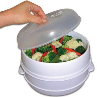 2 Tier Microwave Steamer Food Cooker As Seen On TV Dishwasher And Freezer Safe Kitchen & Dining