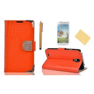 OMIU(TM)Special Corner Design Quality Wallet Leather Carry Case Cover with Credit Card Holders Fit for Samsung Galaxy S4 I9500(Orange), With Luxury Rhinestones Closure Button, Stand View Function, Sent Screen Protector+Stylus+Cleaning Cloth: Cell Phones &a