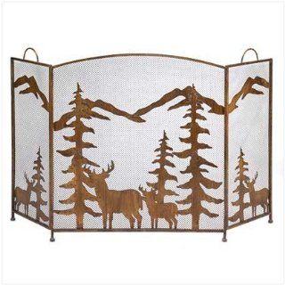 Fireplace Screen ~ Deer/Trees ~ Wrought Iron: Sports & Outdoors