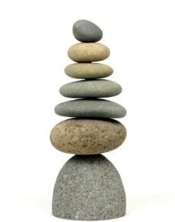 Zen Garden Septuplet 7 Rock Stacked Cairn Trail Marker Natural River Stone Art Statue : Outdoor Statues : Patio, Lawn & Garden