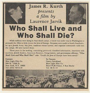 1980 Who Shall Live and Who Shall Die Movie Trade Print Ad (Movie Memorabilia) (48823)
