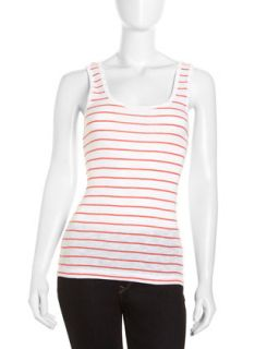 Striped Scoop Neck Tank, White/Holiday Crush