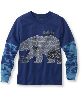 Boys Double Layer Graphic Tee, Polar Maze