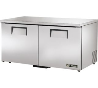 True 60 Low Profile Undercounter Freezer   2 Solid Doors, Aluminum/Stainless