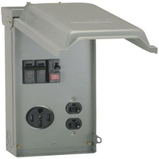 GE 70 Amp Temporary Power Box with GFCI and 50 Amp Outlet Top Feed U055GP