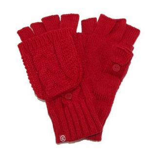 totes ISOTONER Womens Cable Knit Flip Top Mitten Gloves with Flip Thumb, Really Red