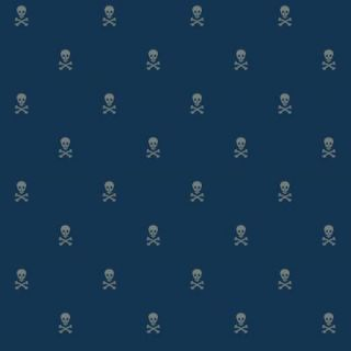 The Wallpaper Company 8 in. x 10 in. Blue Skull and Cross Bones Wallpaper Sample WC1285318S