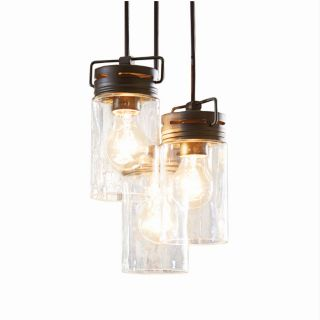 allen + roth Vallymede 9.84 in Aged Bronze Multi Light Clear Glass Pendant