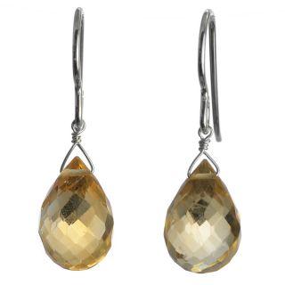Ashanti Silver Golden Yellow Citrine Faceted Briolette Earrings (Sri