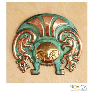 Copper and Bronze Moche Warrior Insignia Inca Mask (Peru