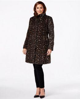 Via Spiga Plus Size Animal Print A Line Coat   Coats   Women