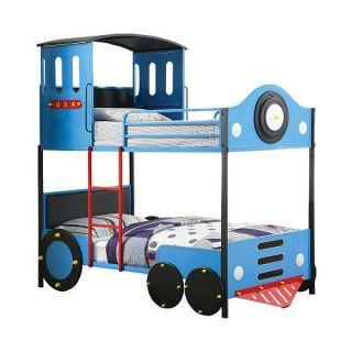 Furniture of America Retro Express Twin Twin Bunk Bed   Blue/Black    Furniture of America