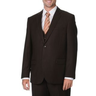 Caravelli Italy Mens Brown Pinstripe Vested Suit