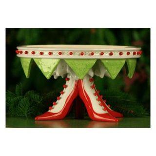"""11.5"""" Patience Brewster Krinkles High Heel Shoe Christmas Cake Plate"""