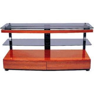 Vidpro GKR 696 2 Shelf Cherry Wood & Glass TV Stand GKR696