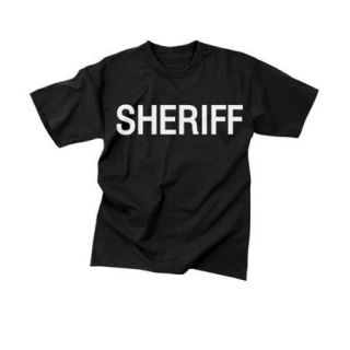 Sheriff Black Official Issue Double Sided Raid T Shirts   Size Large