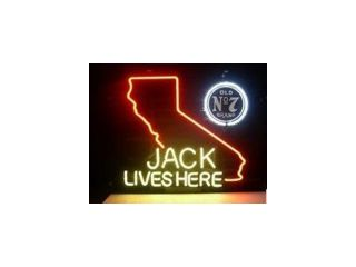 Fashion Neon Sign Jack Daniels Lives Here California Old No.7  Neon Sign Handcrafted Real Glass Lamp Neon Light Neon Sign Beerbar Sign 19x15